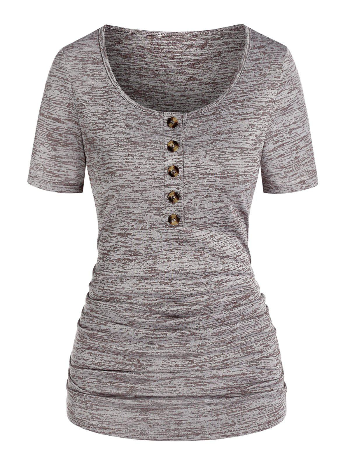 Online Ruched Space Dye Print Henley T-shirt