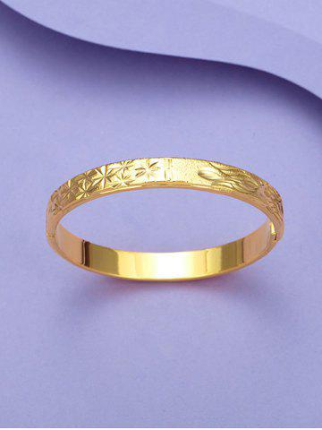 Engraved Floral Matte Gold Plated Bangle