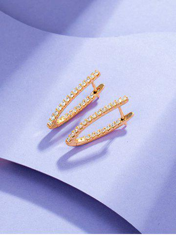 V Shaped Zircon Inlaid Earrings