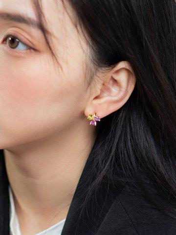 Zircon Clover Gold Plated Small Hoop Earrings
