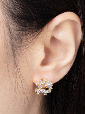 Zircon Inlaid Gold Plated Floral Stud Earrings