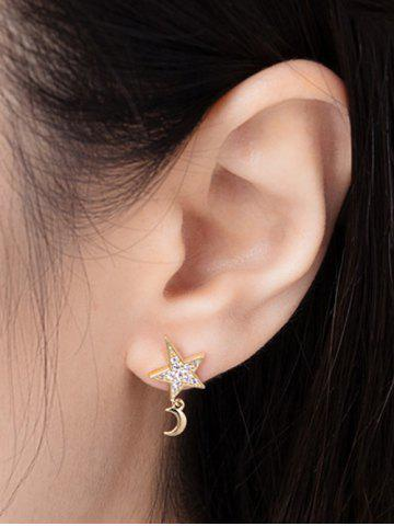 Star Moon Stud Drop Earrings