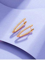V Shaped Zircon Inlaid Earrings -