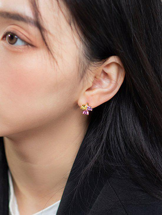 Buy Zircon Clover Gold Plated Small Hoop Earrings