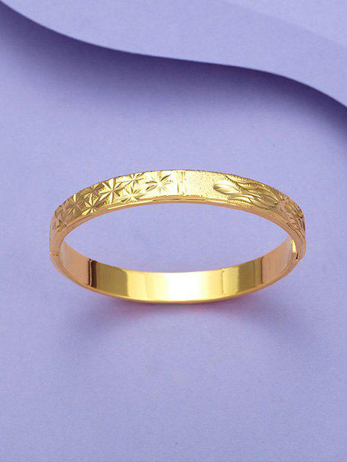 New Engraved Floral Matte Gold Plated Bangle