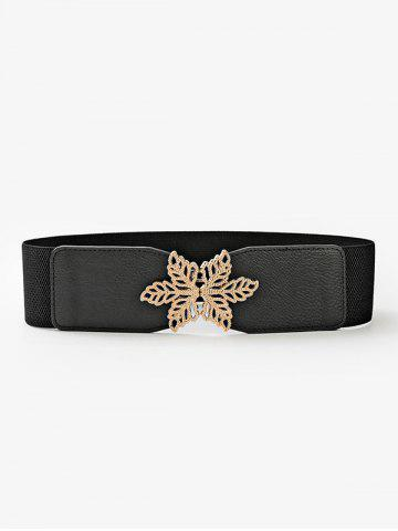 Hollow Out Leaf Buckle Elastic Wide Cinch Belt