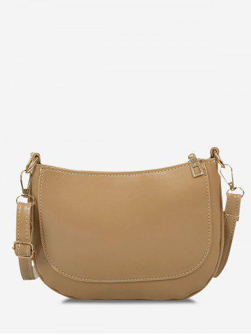 Solid Top-Stitching Crossbody Bag