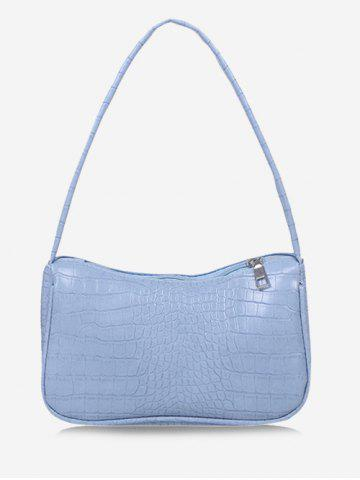 Solid Embossed Shoulder Bag - DAY SKY BLUE