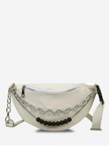 Double Chain Sling Bum Bag - WARM WHITE