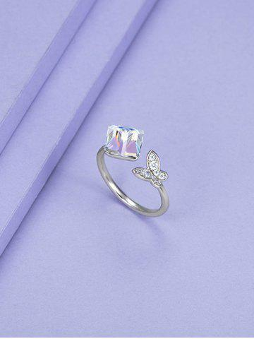 Butterfly Square Faux Crystal Opening Ring - SILVER