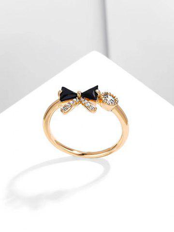 Bowknot Shape Diamante Gold Plated Ring - BLACK - US 7