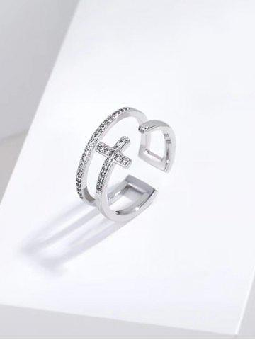 Hollow Out Cross Diamante Opening Ring - SILVER
