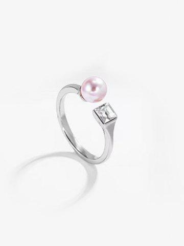 Faux Pearl Square Zircon Opening Ring