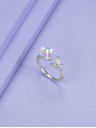 Butterfly Square Faux Crystal Opening Ring -
