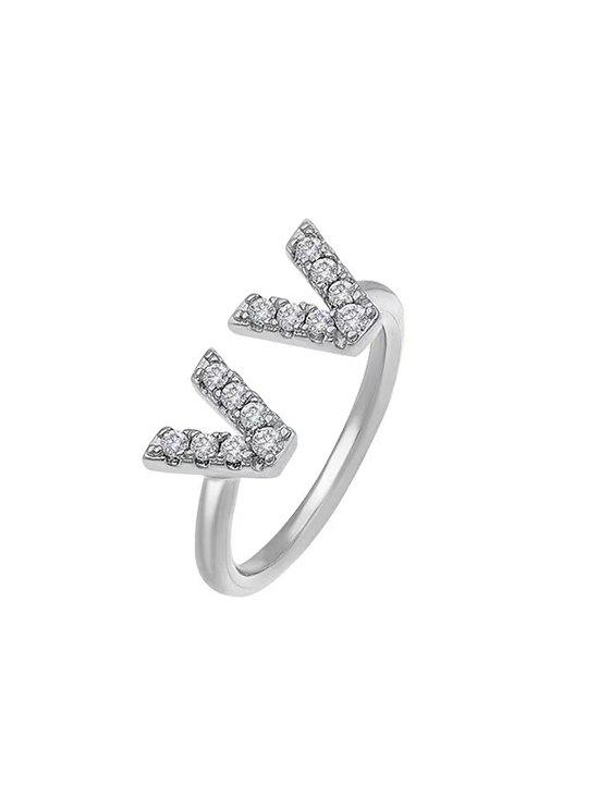 Discount Dual V Zircon Gold Plated Opening Ring