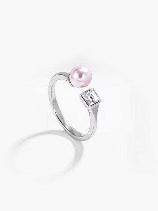 Shops Faux Pearl Square Zircon Opening Ring