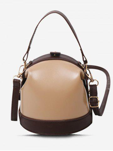 Color Contrast Dual Strap Bucket Bag