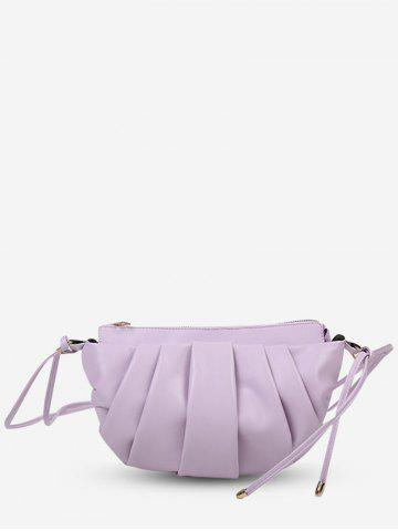 Semicircle Pleated Double Strap Crossbody Bag