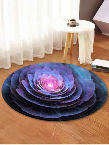 Water Lily 3D Print Coral Fleece Round Mat - CONCORD - R31.5 INCH