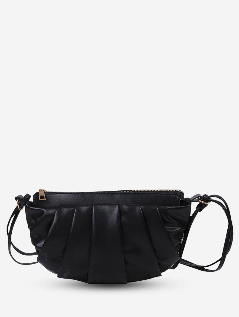 Best Semicircle Pleated Double Strap Crossbody Bag