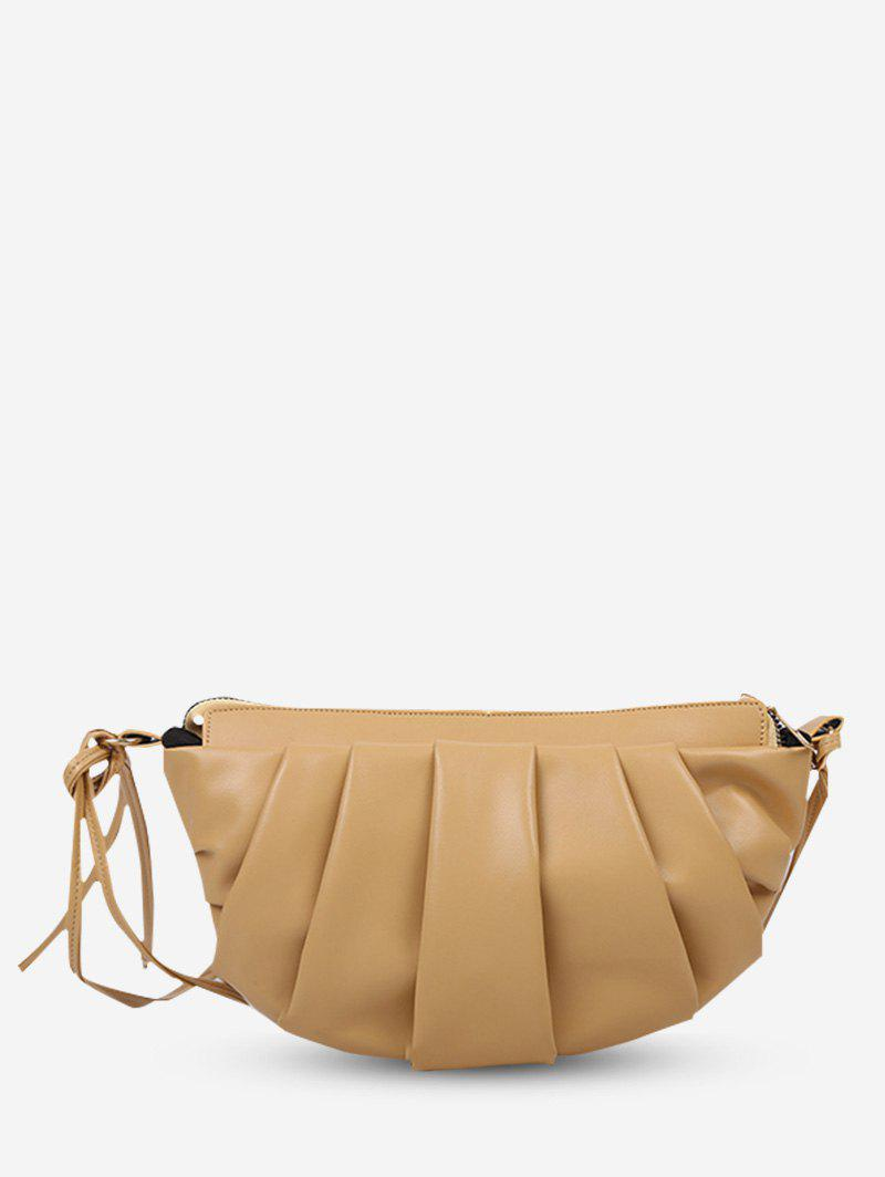 Fancy Semicircle Pleated Double Strap Crossbody Bag