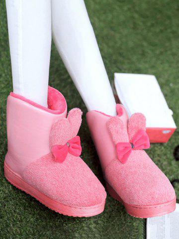 PU Spliced Bowknot Rabbit Ear Snow Boots - PINK - SIZE(37-38)