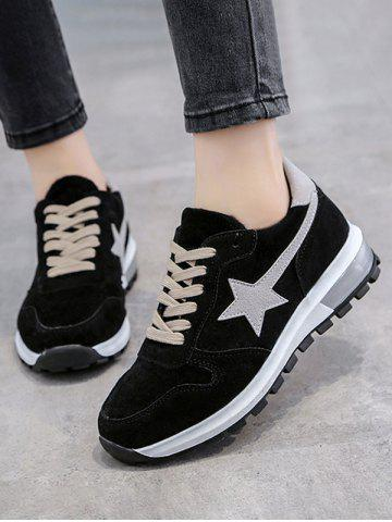Two Tone Star Patched Suede Sneakers - BLACK - 35