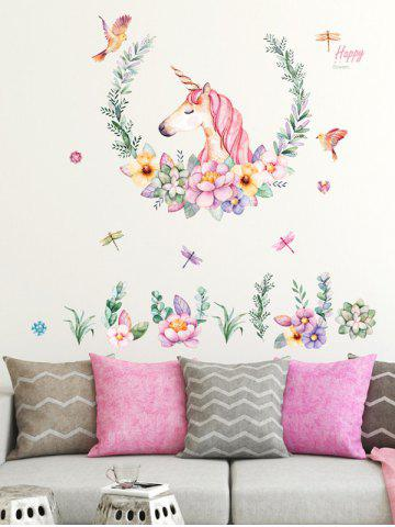 Flowers Unicorn Pattern Room Decoration Wall Stickers Set