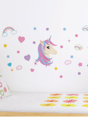 Unicorn Heart Rainbow Pattern Wall Sticker Set