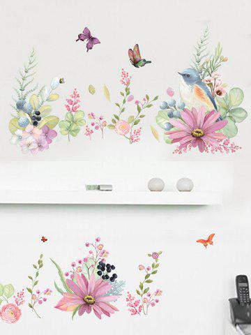 Floral Butterfly Wall Stickers Set