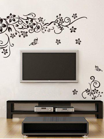Butterfly Flower Vine Print Wall Stickers Set
