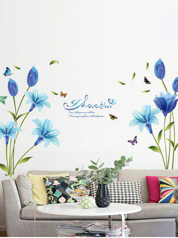 Blue Lily Print Wall Stickers Set