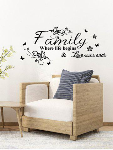 Floral Proverb Print Wall Stickers Set - BLACK - 60X30CM