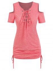 Lace Up Cold Shoulder Cinched Tee -