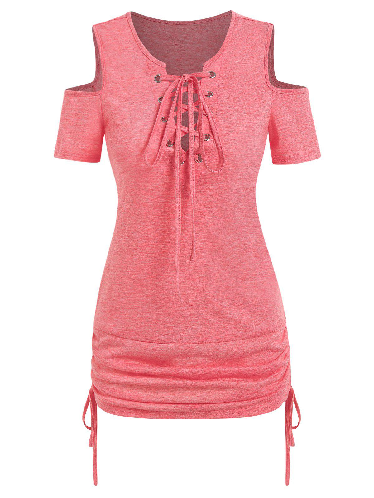 Discount Lace Up Cold Shoulder Cinched Tee