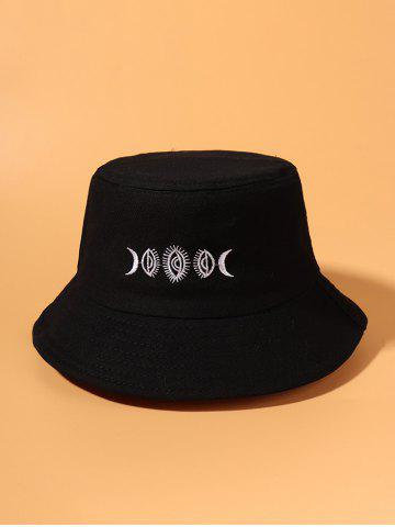 Moon Pattern Embroidered Bucket Hat