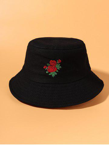 Rose Flower Embroidered Bucket Hat