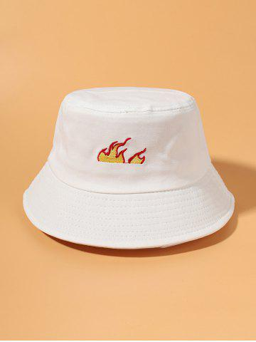 Flame Pattern Embroidered Bucket Hat