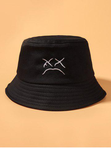 Embroidered Cried Face Pattern Bucket Hat - BLACK