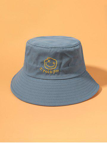 Letters Smile Face Pattern Embroidered Bucket Hat - LIGHT BLUE