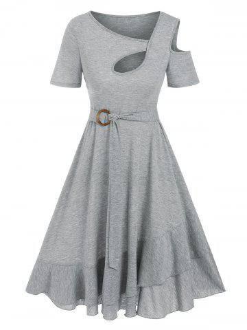 Cutout Open Shoulder Knee Length Dress