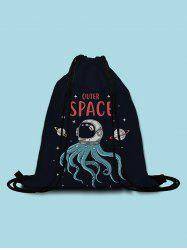 Outer Space Octopus Printed Cinch Bag -