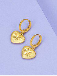 Golden Heart Engraved Huggie Earrings -