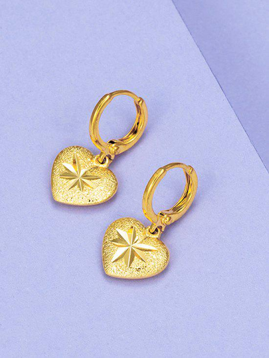 Outfit Golden Heart Engraved Huggie Earrings