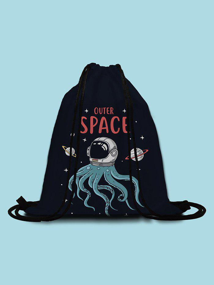 Shop Outer Space Octopus Printed Cinch Bag