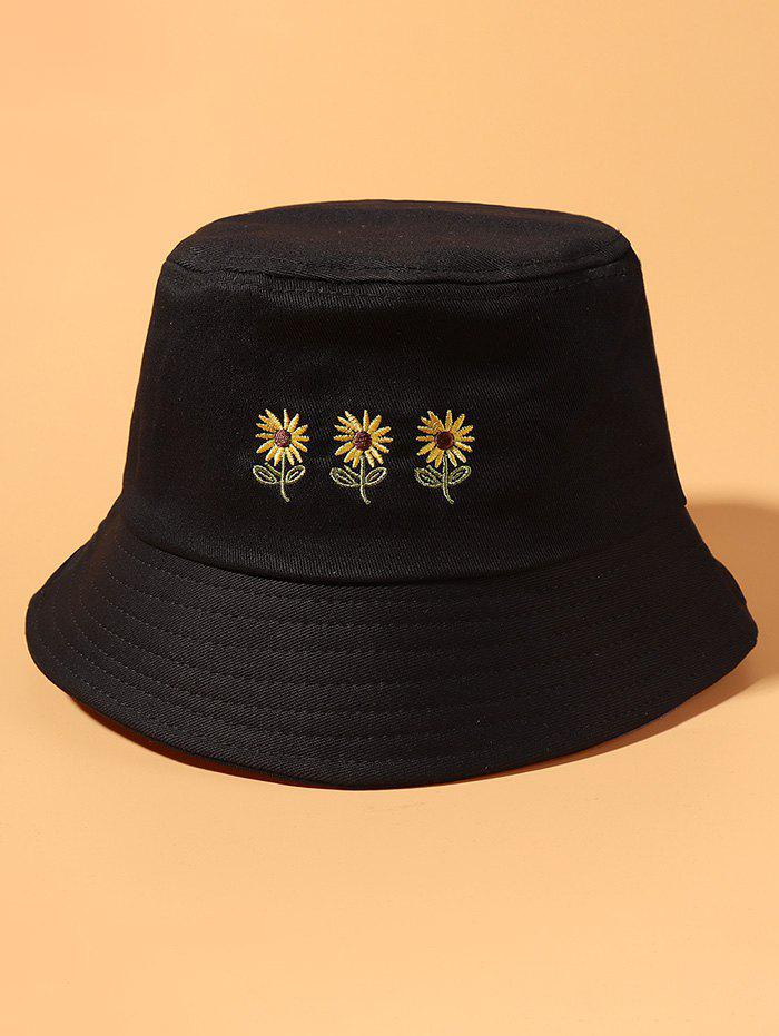 Cheap Embroidered Sunflower Pattern Outdoor Bucket Hat