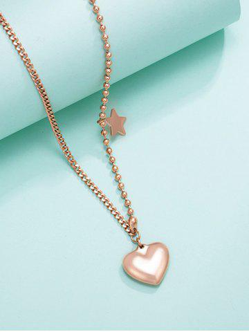 Heart Star Charm Asymmetrical Gold Plated Necklace