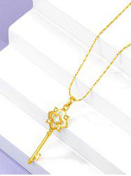 Retro Hollow Out Key Charm Gold Plated Necklace -
