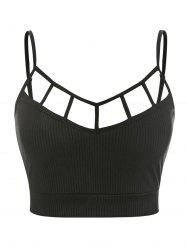 Plus Size Ribbed Ladder Cutout Crop Top -