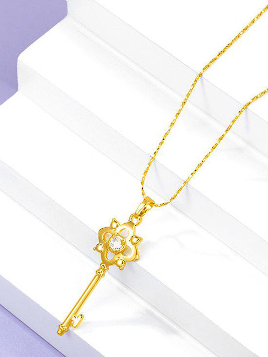Sale Retro Hollow Out Key Charm Gold Plated Necklace